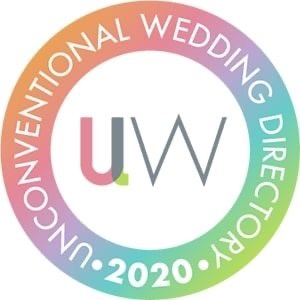 Unconventional Wedding Directory Logo in Rainbow Colours